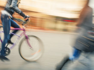 Cyclist and pedestrian