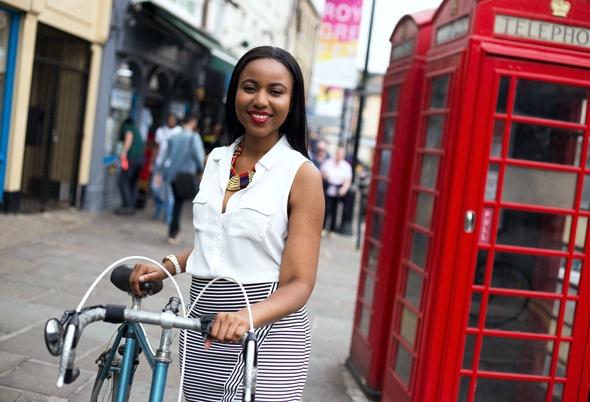 Woman with Bike in Bridge Street